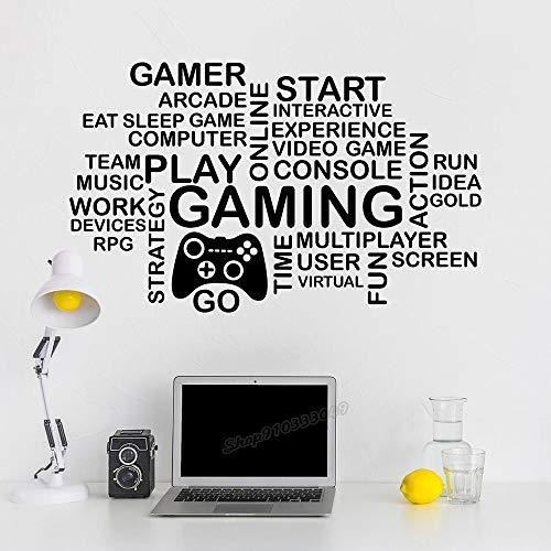 Pegatinas de pared Adhesivos Pared Cita de juego decoración de habitación de niño adolescente videojuego pegatina de jugador pegatina de joystick decoración de habitación de juego regalo 126x77cm