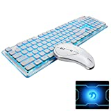 UrChoiceLtd Combo de teclado y ratón inalámbricos recargables Resistente al agua 2.4GHz Blanco / azul con retroiluminación y ratón inalámbrico sin sonido con receptor USB nano para pc Mac (blanco)
