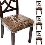 """Houseables Chair Seat Covers, Plastic Cover, Fits 16"""" – 18"""" Seats, 4 Pack, Clear, Adjustable, PVC, Waterproof Protector, Vinyl, Kids Chairs Slipcover, for Dining Room, Kitchen, Cushion, with Straps"""