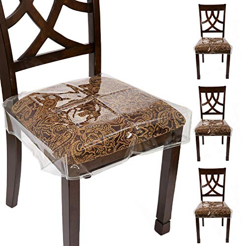 """fits for chairs Houseables Chair Seat Covers, Plastic Cover, Fits 16"""" – 18"""" Seats, 4 Pack, Clear, Adjustable, PVC, Waterproof Protector, Vinyl, Kids Chairs Slipcover, for Dining Room, Kitchen, Cushion, with Straps"""