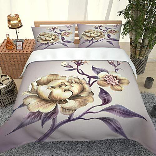 RITIOA Duvet cover set,double bed duvet cover 200x200cm,with 2 pillowcases 50 x 75 cm microfiber bedding duvet cover zipper opening and closing 3D printed duvet cover.