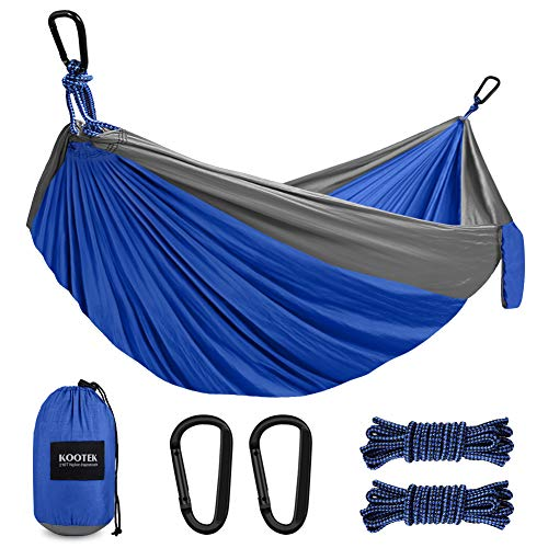 Kootek Camping Hammock Double & Single Portable Hammocks with 2 Hanging Ropes, Lightweight Nylon Parachute Hammocks for Backpacking, Travel, Beach, Backyard, Patio, Hiking