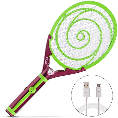Nikаnd Electric Gnat Fly Insect Killer Swatter Bug Zapper Racket USB - Light Mosquito Trap Indoor & Outdoor Tennis Racquet Bug Zappers - Kill Fruit Flies Electronic Swatters Control Best for Camping