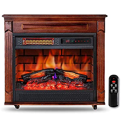 """Electric Infrared Fireplace Heater with Wooden Mantel 27"""" Freestanding Portable Heater with Adjustable Flame and Thermostat w/Remote Timer LED Touch Panel Overheat Protection for Indoor Use Large Room Home, 1500W"""