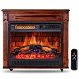"Electric Fireplace Heater with Wooden Mantel 27"" Freestanding Infrared Heater with Adjustable Flame and Thermostat Remote Control Timer LED Touch Panel Overheat Protection for Indoor Use Home, 1500W"