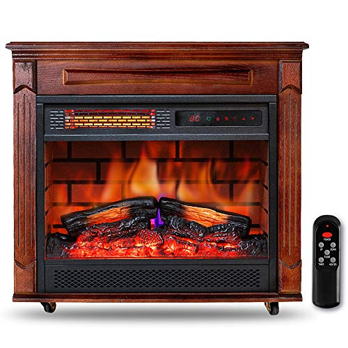 "Electric Infrared Fireplace Heater with Wooden Mantel 27"" Freestanding Portable Heater with Adjustable Flame and Thermostat w/Remote Timer LED Touch Panel Overheat Protection for Indoor Use Large Room Home, 1500W"