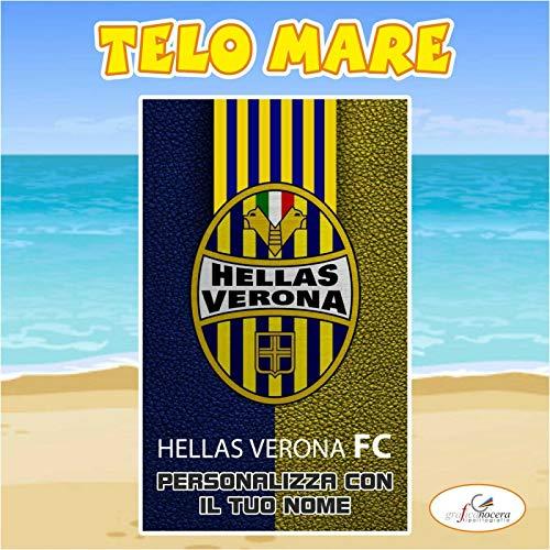 Telo Mare in spugna Hellas Verona squadra Serie A nome personalizzato estate (160cm X 200cm)