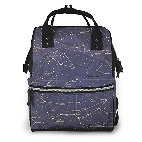 Mojo Black Constellation Diaper Bag Backpack Waterproof Multi-Function Changing Bags Maternity Nappy Bags Durable Large Capacity for Mom Dad Travel Care