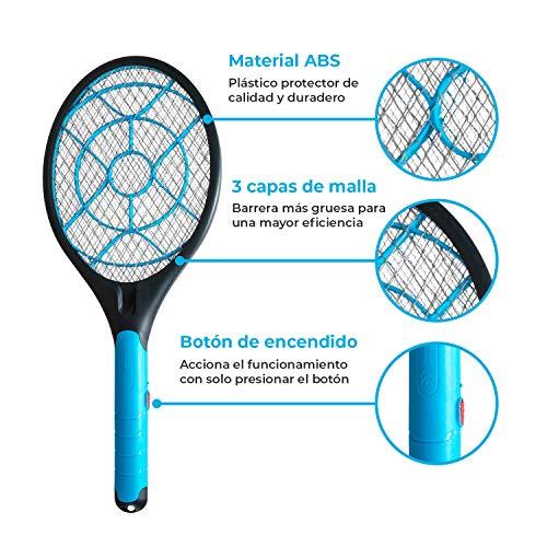AVISPALA Raqueta eléctrica para Matar Moscas, Mosquitos y Avispas. Matamoscas eléctrico. Caza Insectos voladores Dentro y Fuera de casa. Extermina bichos Jugando. Funciona con 2 Pilas AA