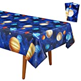 Decorlife 2 Pack 54' x108' Party Table Cloths for Space Birthday Decorations, Outer Space Tablecloths for Kids Galaxy Party Supplies