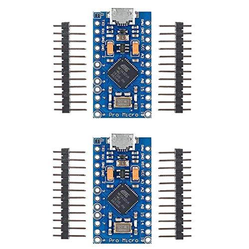 Aideepen 2個 Pro Micro Atmega32U4 5V 16MHz 開発ボードモジュールマイクロコントローラー、Micro USBブートローダーIDE、Arduino Pro mimi ピンヘッダー付きシリアル接続ATmega328と互換 Leonardo Arduino用 【2021人気最新 5V】