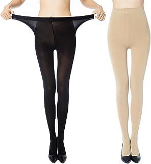 MANZI Women's 2 Pairs Control Top Plus Size High Waist Pantyhose Tights
