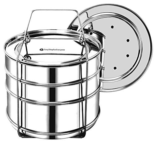 EasyShopForEveryone Stackable Steamer Insert Pans with 2 Lids, Cook 3 Dishes at a time, Compatible with 8qt Instant Pot, Pressure Cooker Accessories, Pot in Pot, Baking, Casseroles, Lasagna Pans