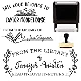 from The Library of Book Stamp This Belongs to Personalized Self-Inking or Wood Handle Custom Classroom Library Teacher Customized Name from The Ex-Libris of 7/8' x 2 3/8' (Design 3)