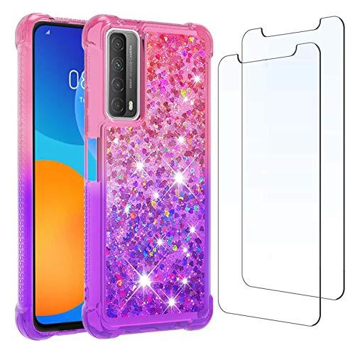 Funda para Huawei P Smart 2021 y [2 Pack] Protector de Pantalla, Glitter Liquida Purpurina Cristal Transparente Carcasa Brillante Arena Movediza Cover para Huawei P Smart 2021 (Rosa/Púrpura)