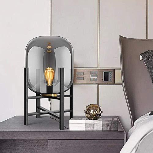 DJY-JY Lámpara Nordic simple de cristal metálico para dormitorio, mesita de noche, sofá, lámpara decorativa 1 lámpara E27 de 53 cm x 30 cm de alto sabor