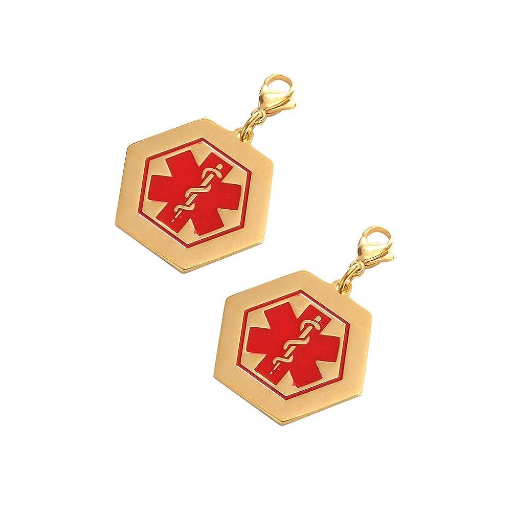 Mystart 2 Pcs Gold Plated Stainless Steel Hexagonal Medical Alert ID Symbol Pendants Charms