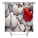 taquxinlaowan Guijarro Guijarros Rojo en Forma de corazón Tela de Piedra Cortina de baño Set Decoración de baño