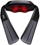 NURSAL Masajeador inalámbrico de amasado profundo Masajeador de Shiatsu con calor para hombro, cuello, cintura y espalda, correas más largas y batería recargable, para uso en viajes, hogar y oficina