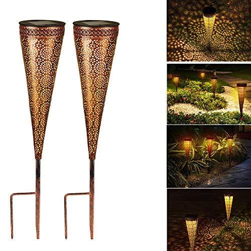 Solarlaterne für außen, Solar Laternen IP44 Wasserdichte für außen Garten,Dekorative Solarlampe Hangend Solarleuchten, Metall LED Solar Laterne für Patio (B)