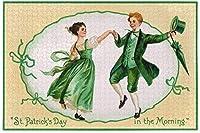 聖パトリックの日の朝のジグソーパズル500ピースヴィンテージアイルランドのカップルDIYウォールアート大人のための知的減圧楽しいゲーム十代の若者たち-聖パトリックの日の朝-1000ピース