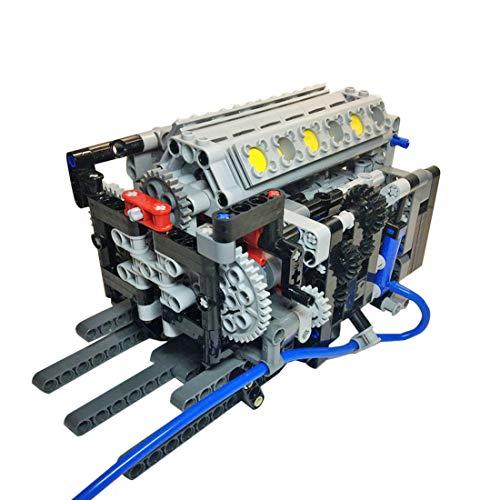K9CK V12-Motormodell, Custom Bausteine Generator Motorzylinder Engine Bausatz Schaltgetriebe mit 6 Gängen Modellbau, 516 Stück