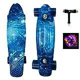 Sumeber Skateboard Kinder Mini Cruiser Skateboard Komplette 22 Zoll mit LED Leuchtrollen Skateboard für Erwachsene Kinder Anfänger Geburtstagsgeschenk (Ozean)