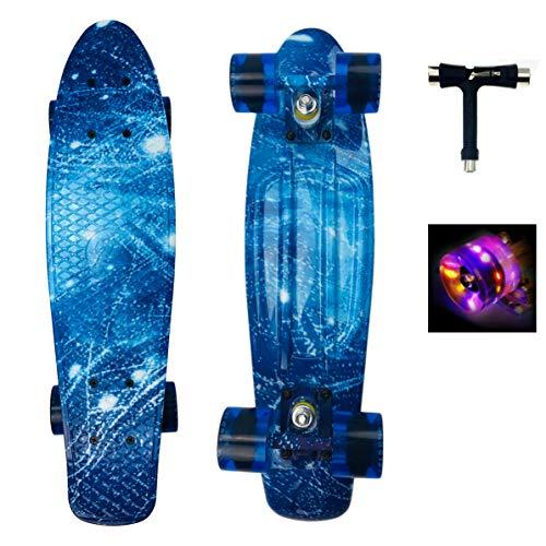 Sumeber Skateboard Kinder Mini Cruiser Skateboard Komplette 22 Zoll mit LED Leuchtrollen für Erwachsene Kinder Anfänger Mädchen Jungen Geburtstagsgeschenk (Ozean)