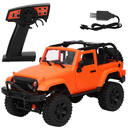 Hebrew Coche de Carreras, Coche de Control Remoto, 1/14 RC Car Toy Remote Control Monster Truck Tracción en Las Cuatro Ruedas 2.4GHz(Orange, Upgrade)