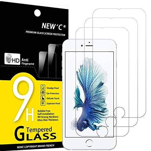 NEW'C 3 Stück, Schutzfolie Panzerglas für iPhone 6 Plus, iPhone 6s Plus, Frei von Kratzern, 9H Härte, HD Displayschutzfolie, 0.33mm Ultra-klar, Ultrabeständig