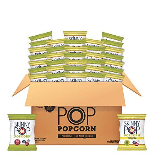 SkinnyPop Popcorn Variety (Original & White Cheddar), 0.5oz Individual Snack Size Bags (Pack of 40) Skinny Pop, Healthy Snacks, Gluten-free