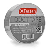 XFasten Super Strong Duct Tape, White, 2' x 50 Yards Waterproof Duct Tape for Outdoor, Indoor, School and Industrial Use