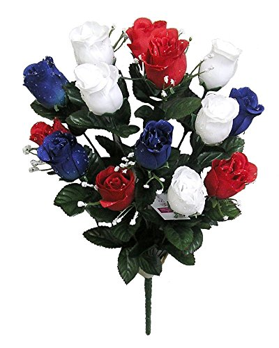 Admired By Nature 14 Stems Blossoms Bush for Home Office, Wedding and Restaurant Decoration Arrangement, Red/White/Blue Artificial Full Blooming Flowers, Medium, 5. ABN_RD/WT/BL_Rose Bud, Count
