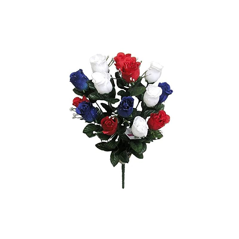 silk flower arrangements admired by nature 14 stems blossoms bush for home office, wedding and restaurant decoration arrangement, red/white/blue artificial full blooming flowers, medium, 5. abn_rd/wt/bl_rose bud, count