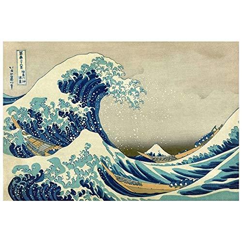 Legendarte Cuadro Lienzo, Impresión Digital - La Gran Ola De Kanagawa Katsushika Hokusai, cm. 60x90 - Decoración Pared