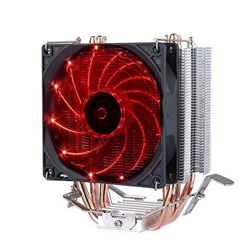 upHere 4 Heatpipes Prozessorkühler mit 92 mm PWM Lüfter - CPU Kühler für AMD und Intel Sockel bis Kühlleistung - Multkompatibel- Mit voraufgetragener MX-4 Wärmeleitpaste Rote,C92R