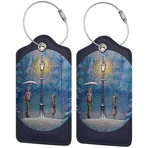 Kofferanhänger Narnia Magic Laterne Leder Kofferetiketten Tasche Reisegepäck Tasche mit Sichtschutz 2 Stück Set