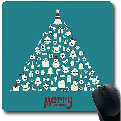 Mousepad Mond Schneemann Weihnachtsbaum Feiertage Clip Elch Weihnachten Kerze Kugelschreiber Vogel Büro Computer Laptop Notebook Mauspad, rutschfestem Gummi 25X30CM