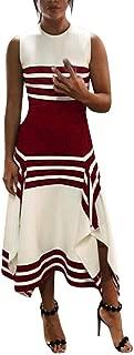 Women Stripe Sleeveless Casual Dress Women Round Neck Vestido Midi Party Dresses