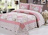 Juego de ropa de cama con diseño de patchwork, con relieve, estilo vintage, 3 unidades, incluye 2...