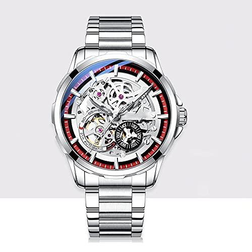 La Moda Relojes Hombre, Negocios Cuarzo Simulado,Relojes De Pulsera Cronografo Diseñador Impermeable ,Acero Inoxidable Cinturón De Malla Relojes De Pulsera (Color : Red)