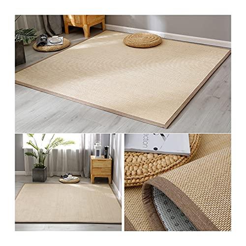 JIAJUAN Natural Bambus Teppich, rutschfest Atmungsaktiv Wohnzimmer 1,5 cm Dick Bodenmatte, Flur Erkerfenster Meditation Fiber Area Rug, Sondergröße (Color : A, Size : 130x110cm)