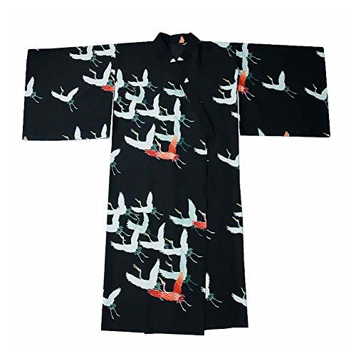 Fancy Pumpkin Albornoz del Traje del Kimono de Las Mujeres retras del Estilo japonés con la Cintura, grúa Red-Crowned