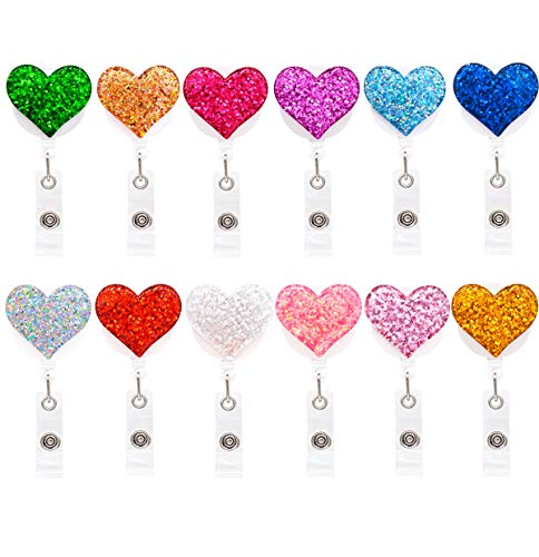 Qinsuee 12 Pack Bling Heart Retractable Badge Reel, ID Badge Holder with Alligator Clip, Lightweight, 24' Easy Retracting Cord