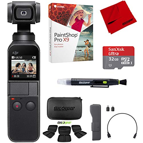 DJI Osmo Pocket Handheld 3 Axis Gimbal Stabilizer Camera Attachable to Smartphone, Android, iPhone Filmaker Bundle with Hard Travel Case,Sandisk Ultra 32GB High Speed Micro SD Card + Corel Pro X9