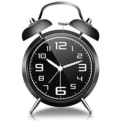 GogoTool Glockenwecker mit Nachtlicht, Retro Glockenwecker, Lauter Alarm, Kein Ticken, 4 Zoll - Schwarz