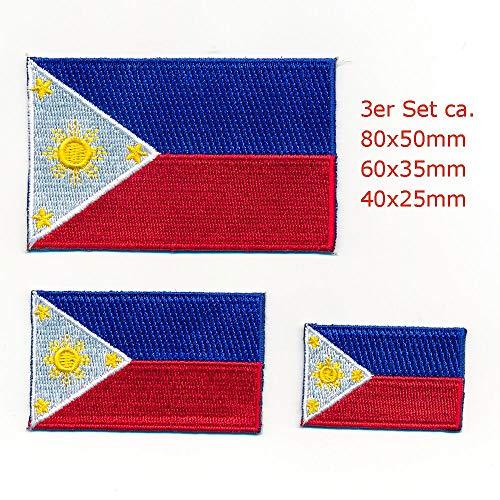 hegibaer 3 Philippinen Flaggen Manila Luzon Flags Patches Aufnäher Aufbügler Set 0114