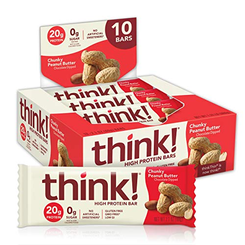 think! (thinkThin) High Protein Bars - Chunky Peanut Butter, 20g Protein, 0g Sugar, No Artificial Sweeteners, Gluten Free, GMO Free, 2.1 oz bar (10 Count - packaging may vary)