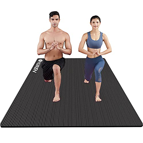 Large Exercise Mat 200x130CM Ultra Thick 15mm Yoga Mat Non-Slip Workout Mats for Home Gym Flooring Fitness Mat Cardio Equipment (Black) from YR YOGA MAT