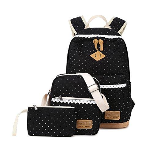 3 Teile Set Schulrucksack Mädchen/Damen, Rucksack Schule/Schulranzen + Schultertasche/Messenger Bag + Mäppchen/Purse-Typ A schwarz